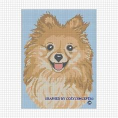 COZYCONCEPTS POMERANIAN DOG CROCHET AFGHAN CROSS STITCH PATTERN GRAPH CHART