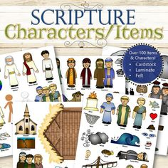 Purchase includes printed, laminated or flannel characters and items to go along with the scriptures! Each item comes labeled and includes a Character Guide to identify the stories and their associated characters. Works great with any version of scriptures (standard, readers, study guides, etc.) and is great for teaching and quiet play time.  ★ Old Testament Set - 108 Characters/Items ★ New Testament Set - 126 Characters/Items ★ Book of Mormon Set - 118 Characters/Items  ✫ MATERIAL OPTIONS…