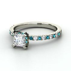 Carrie Princess Ring, Princess Diamond White Gold Ring with London Blue Topaz