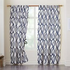Cotton Canvas Scribble Lattice Curtain - Midnight Blue