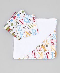 Another great find on #zulily! White & Red ABC Hooded Towel & Washcloth Set #zulilyfinds