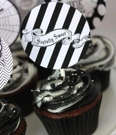 The fancy banners are the real hero in this tasty treat idea even if the frosting may turn party-goers mouths a festive black. Pinned by ...