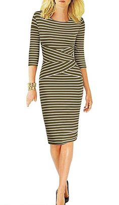 1212112152 REPHYLLIS Women 3/4 Sleeve Striped Wear to Work Business Cocktail Party Pencil  Dress ArmyGreen