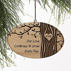 The tree design on this ornament is beautiful! This is such a cute ornament to give to your loved one! You can have the tree trunk engraved with any initials and you can write any message you want to be engraved on the left side! Great Wedding Gift idea too!