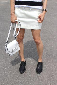 WoahStyle.com   Rag & Bone, Acne skirt, Helmut Lang oxfords, Mackage white Novaki bag
