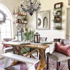 lovely farmhouse dining room table design ideas (start your mission! Farmhouse Dining Room Table, Dining Room Wall Decor, Dining Area, Room Decor, Dining Rooms, Malta, Pottery Barn, Table Design, Best Dining