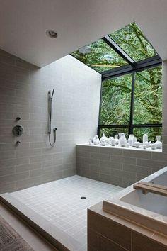 Modern bathroom with earth tone elements