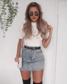coole outfits Blue Denim Distressed Diva Jean Minirock, The History of Denim Skirt Outfits, Legging Outfits, Mode Outfits, Girly Outfits, Outfits For Teens, Casual Outfits, Fashion Outfits, Fashion Trends, Womens Fashion