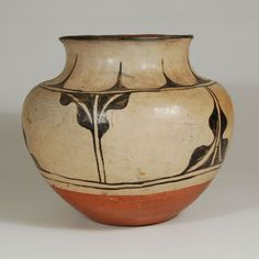 "#adobegallery #KewaPuebloPottery #SantoDomingoPuebloPottery #SouthwestIndianPottery - Kewa - Santo Domingo Pueblo Water Jar. Category: #Historic Origin: #Kewa #Pueblo - Santo Domingo Pueblo Medium: clay, pigment Size: 8-3/4"" height x 10"" diameter Item # C3802"
