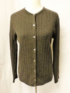LANDS' END Sz M (10-12) DARK BROWN CABLE KNIT 100% CASHMERE CARDIGAN #LandsEnd #Cardigan