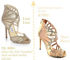 Jimmy Choo Kole crystallized suede and mesh sandals with an exact copy by Carlton London in gold, Laurene.