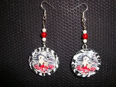 Zebra striped Betty Boop earrings