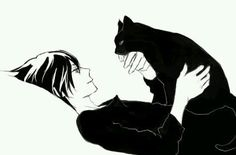 Anime/manga cute boy with cat. Black and white