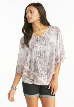 Cato Fashions Mixed Print Capelet Top #CatoFashions