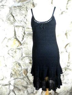 Ralph Lauren Rugby Black Crocket Spaghetti Strap Dress Size Small Linen & Silk  #Casual