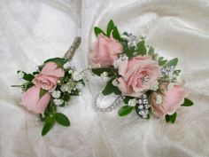 Wrist Corsage & Boutonniere set - Light Pink Spray Roses, Gyp, Gem Pin accents, Double Row Cubic Zirconia Bracelet  2016 Prom Flowers, Wedding Flowers, Corsage And Boutonniere Set, Wrist Corsage, Spray Roses, Wedding Bouquets, Wreaths, Pink, Formal Wear