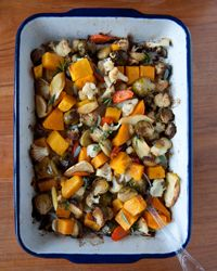 When roasting winter vegetables, Melissa Rubel Jacobson says be sure to chop them about the same size, so they cook at the same rate. And toss them at least once while they're in the oven, so they brown evenly. Other creative ideas for roasted vegetables are Spiced Vegetables with Pomegranate Seeds and Maple-Ginger-Roasted Vegetables with Pecans.
