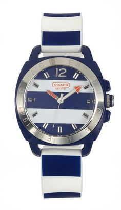 What could be more perfect for spring than a nautical-striped watch? - this is just furthering my addiction to Coach watches Coach Handbags, Purses And Handbags, Coach Purses Outlet, Coach Watch, Cheap Coach Bags, Nautical Fashion, Nautical Style, Mk Bags, Michael Kors