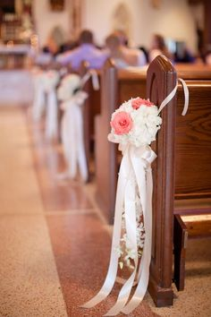 Robertson's Flowers, Whitemarsh Valley Country Club, Funny Business Photo Booth, Ashley Bartoletti Photography. #wedding #church #pews #flowers