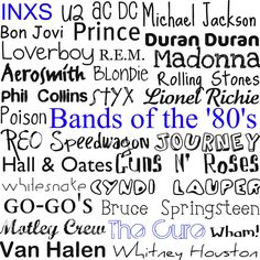Subway Art- Bands of the '80's..loved my music. Had alot on vinyl & had a lot of cassette tapes that got eaten. Lol