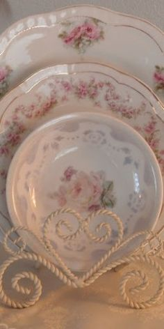 Delicate pink rose china & lovely heart plate holder