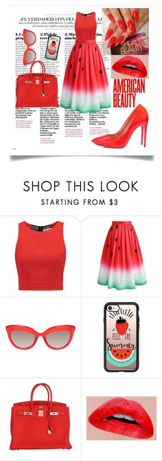 """""""lady_melone"""" by schwarz1 ❤ liked on Polyvore featuring Alice + Olivia, Chicwish, Casetify, Hermès and Casadei"""
