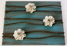 Canvas with Paper Flowers by prettyfoldings on Etsy
