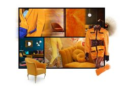 Warm, vibrant and whimsical, when the brilliance of pure yellow and its orange-infused mango tone cover designs such as KOKET's Chignon Sofa or Mimi Chair sweet happy vibes are instantly created. Warm Color Schemes, Neutral Colour Palette, Design Apartment, Interior Decorating, Apartments Decorating, Decorating Bedrooms, Decorating Ideas, Decor Ideas, Luxury Decor