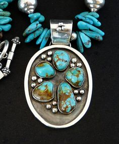 5-Stone Kingman Turquoise & Sterling Silver Pendant with Kingman Turquoise Briolette, Bronzite & Sterling