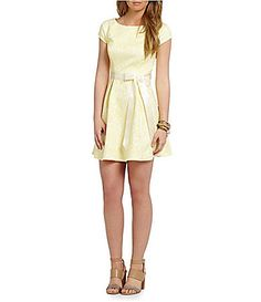 Teeze Me Cap Sleeve Jacquard Party Dress #Dillards