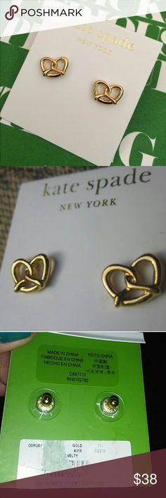 NWT kate spade gold pretzel stud earrings OMG are these adorable or what, these will add a dash of fun and whimsy to anything you wear!  Super cute gold pretzel studs by Kate Spade. Always authentic. New.  Style is called NYC novelty.   Earrings 12 carat gold plated metal & posts are 14 carat gold filled.   Bundle and save. Open to reasonable offers. kate spade Jewelry Earrings