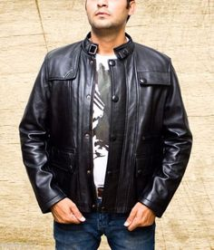 Men-039-s-T5-Terminator-Genisys-Arnold-Biker-Black-Leather-Jacket-size-Small-5XL