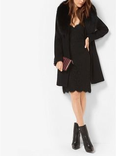 Fur-Trimmed Wool and Cashmere Coat