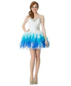 Blue and white short corset puffy prom dresses - formal prom poofy dresses