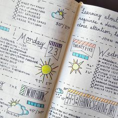Lovely mixture of hand lettering and doodles in this Bullet Journal spread