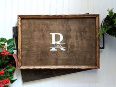 Personalized Serving Tray, Custom Wooden Serving Platter, Serving Tray With Handles, Custom Wedding Wooden Serving Platters, Rustic Outdoor Decor, Farmhouse Kitchen Decor, Farmhouse Signs, Ottoman In Living Room, Custom Wedding Gifts, Custom Wood Signs, Types Of Furniture, Rustic Style