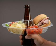 The Go Plate is the must have to any BBQ or a party with your friend or family! Adapts to your favorite beverage & becomes the handle for your plate! When you will have a drink you'll obviously remove the bottle from the plate… Otherwise you know what will happen.. genius!