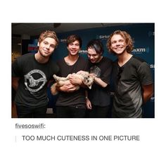 "Okay but Ash and Luke are just so cute and Cal can't contain his joy because he's holding a dog and Mikey's just like ""I DON'T CARE ABOUT THE PICTURE THERE'S A FREAKING PUPPY HERE"""