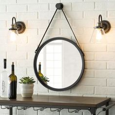 Round Metal Wall Mirror // I find this style of mirror really attractive Contemporary Wall Mirrors, Unique Mirrors, Cool Mirrors, Round Mirrors, Modern Contemporary, Beautiful Mirrors, Modern Wall, Bathroom Red, Bathroom Colors
