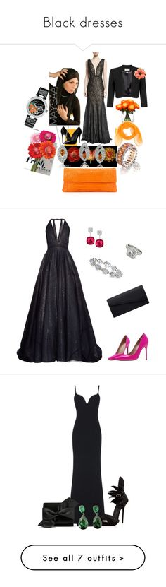 """Black dresses"" by gracie0312 ❤ liked on Polyvore featuring dresses, gowns, gunmetal, beaded gown, lace evening dress, lace evening gowns, jovani dresses, lace ball gown, Jovani and Dolce&Gabbana"