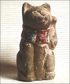 Maneki Neko - Painted Pottery. Meiji Period, Circa 1868-1912.