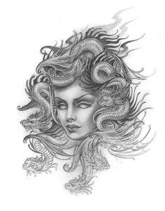 Medusa with dragons instead of snakes for her hair | Kim Saigh