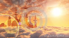Aerial view of Sci Fi City with clouds by Denisgo, via Dreamstime Sci Fi City, Science Fiction Authors, Far Future, Cloud City, Aerial View, Habitats, Star Wars, Clouds, Starwars