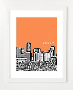 Denver Poster City Skyline Art Print  Colorado State  by birdAve, $20.00