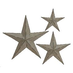Handcrafted Rustic Metal Grey Wall Decor Stars Set Of 3