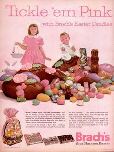LIFE Apr 6, 1962 Brach Easter Candy, Vintage Advertisement,  Tickle Them Pink