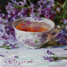 Fruit Painting, Love Painting, Tea Cup Art, Cafe Art, Pictures To Paint, Painting Pictures, Flower Oil, Watercolour Tutorials, Still Life