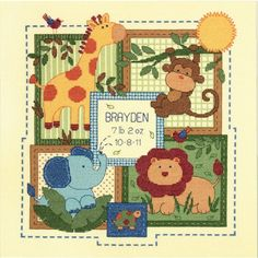 The Savannah Baby Birth Record Counted Cross Stitch Kit is a jungle & safari themed design from the Dimensions Baby Hugs collection.  Birth record kit includes 14 count ivory Aida fabric, presorted cotton thread, needle, and instructions with an alphabet and numbers for personalizing.