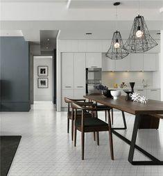 "Home improvement kitchen flooring with 4"" classic white zip connection matte porcelain triangle tiles, simple and modern design! #interiordesign #homedecor #flooring #designinspiration #tiles #renovation #remodel"