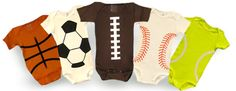 Football, Basketball, Baseball, Soccer Ball, and Tennis Ball Onesies. These make me want another boy :)